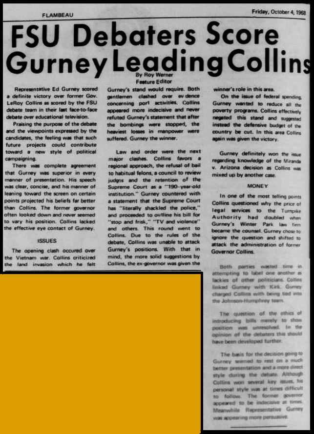 """FSU Debaters Score Gurney Leading Collins"""