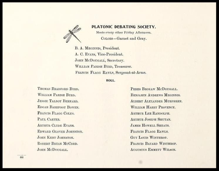 Platonic Debating Society Members 1900 - 1901