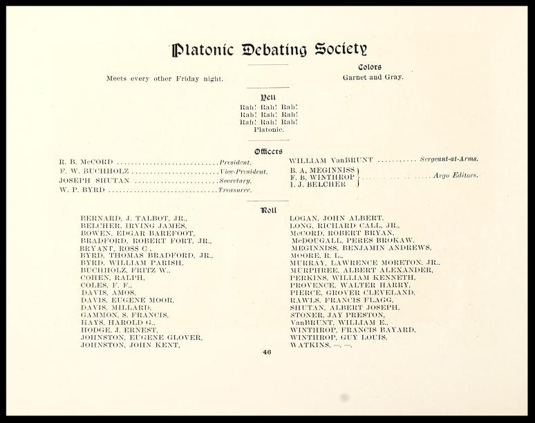 Platonic Debating Society Members 1901 - 1902