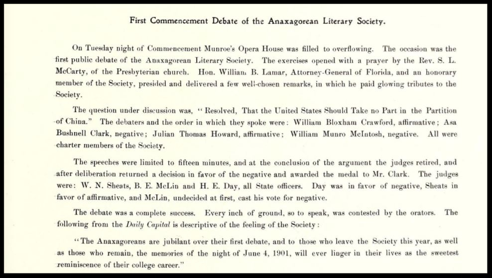 """First Commencement Debate of the Anaxagorean Literary Society"""