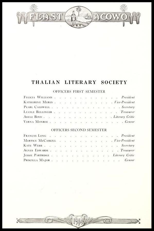 Thalian Literary Society Officers