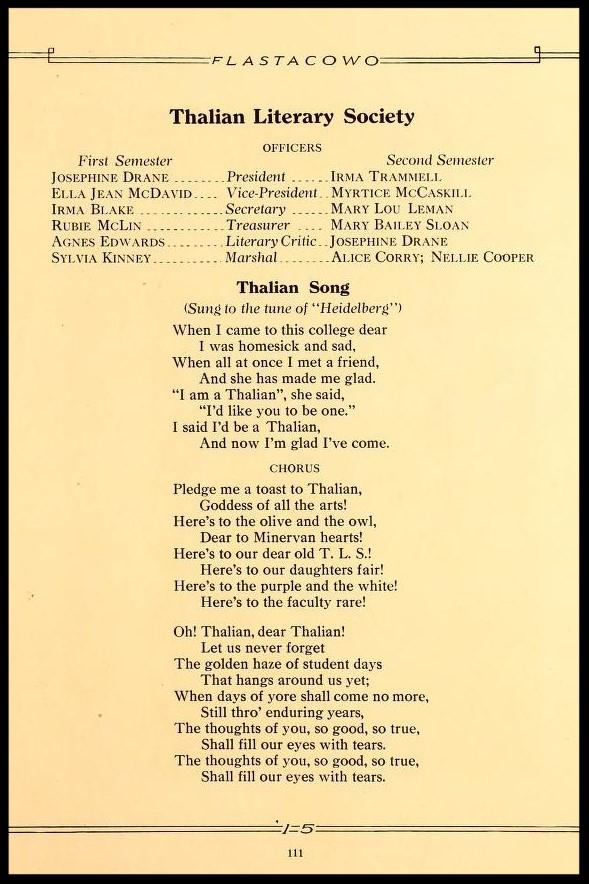 Thalian Literary Society Officers & Song