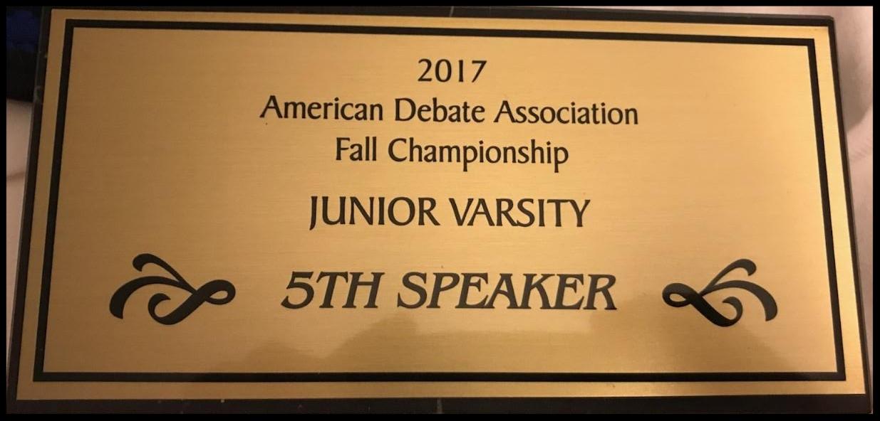 2017 Fifth Speaker Fall ADA JV Championship Tournament