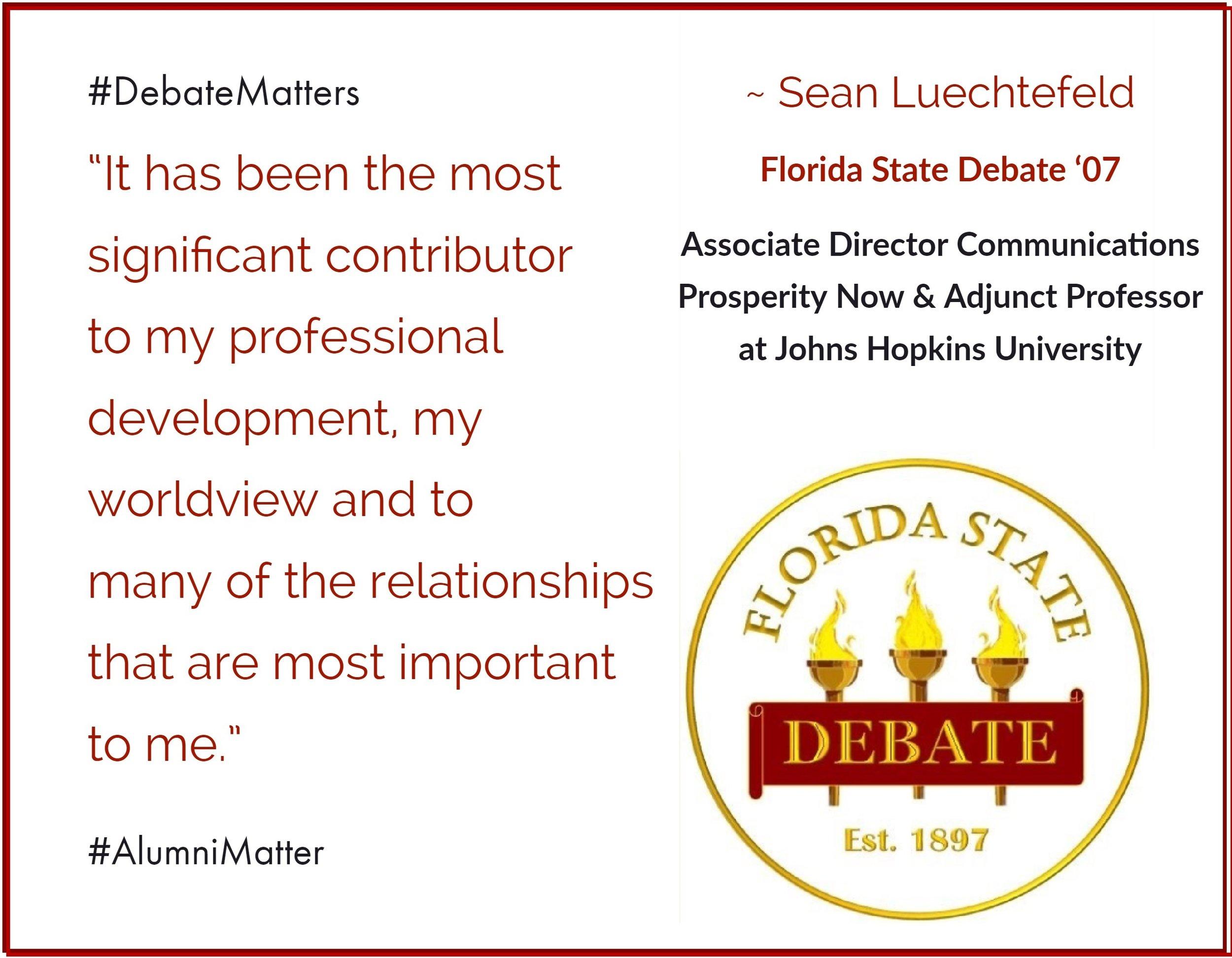 #DebateMatters Sean Luechtefeld '07