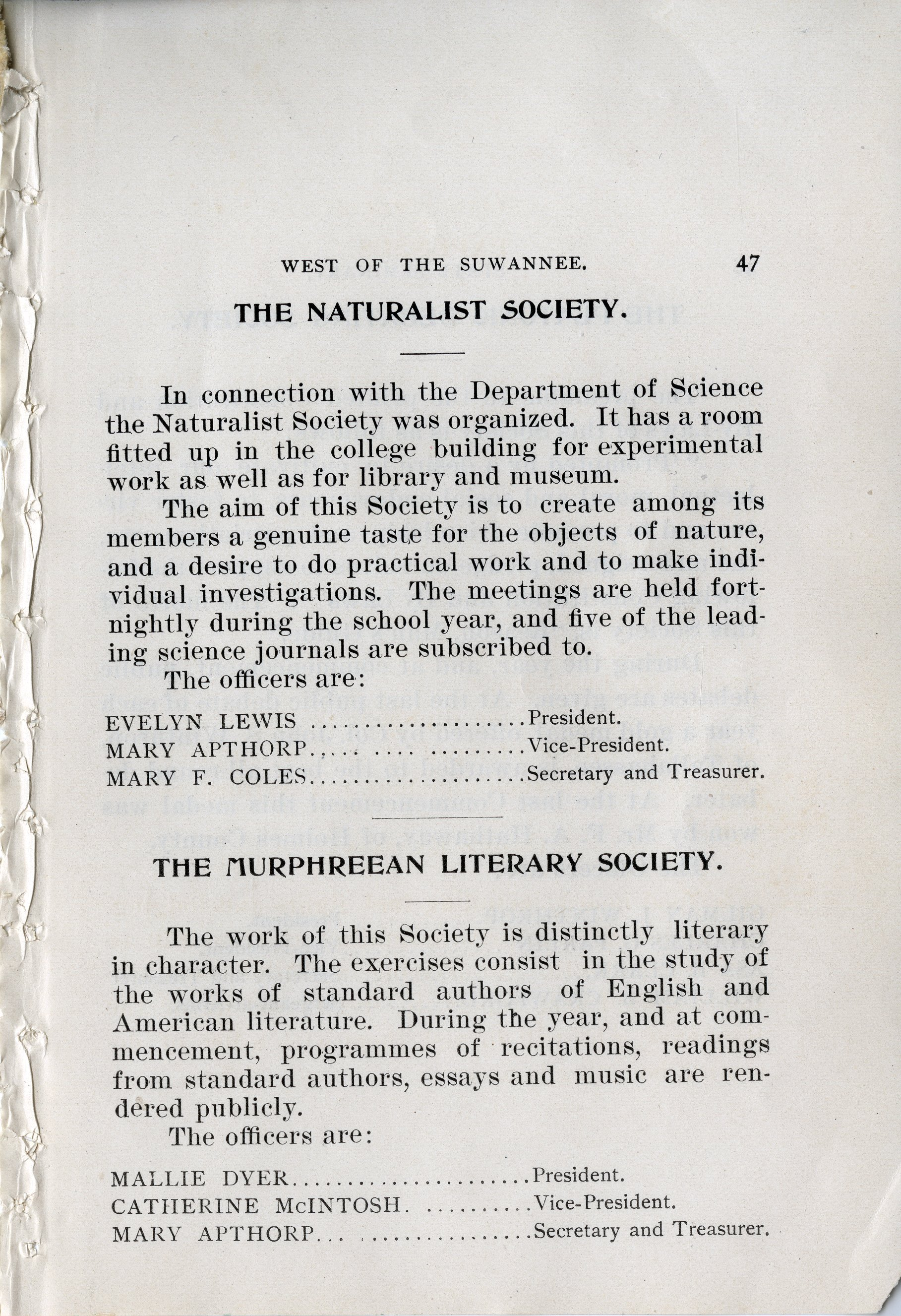 THE MURPHREEAN LITERARY SOCIETY