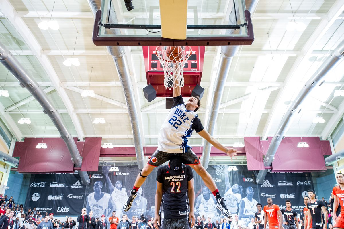 6'4 Grayson Allen dunking over 6'11 Jahlil Okafor (picture & video borrowed from ballislife.com)