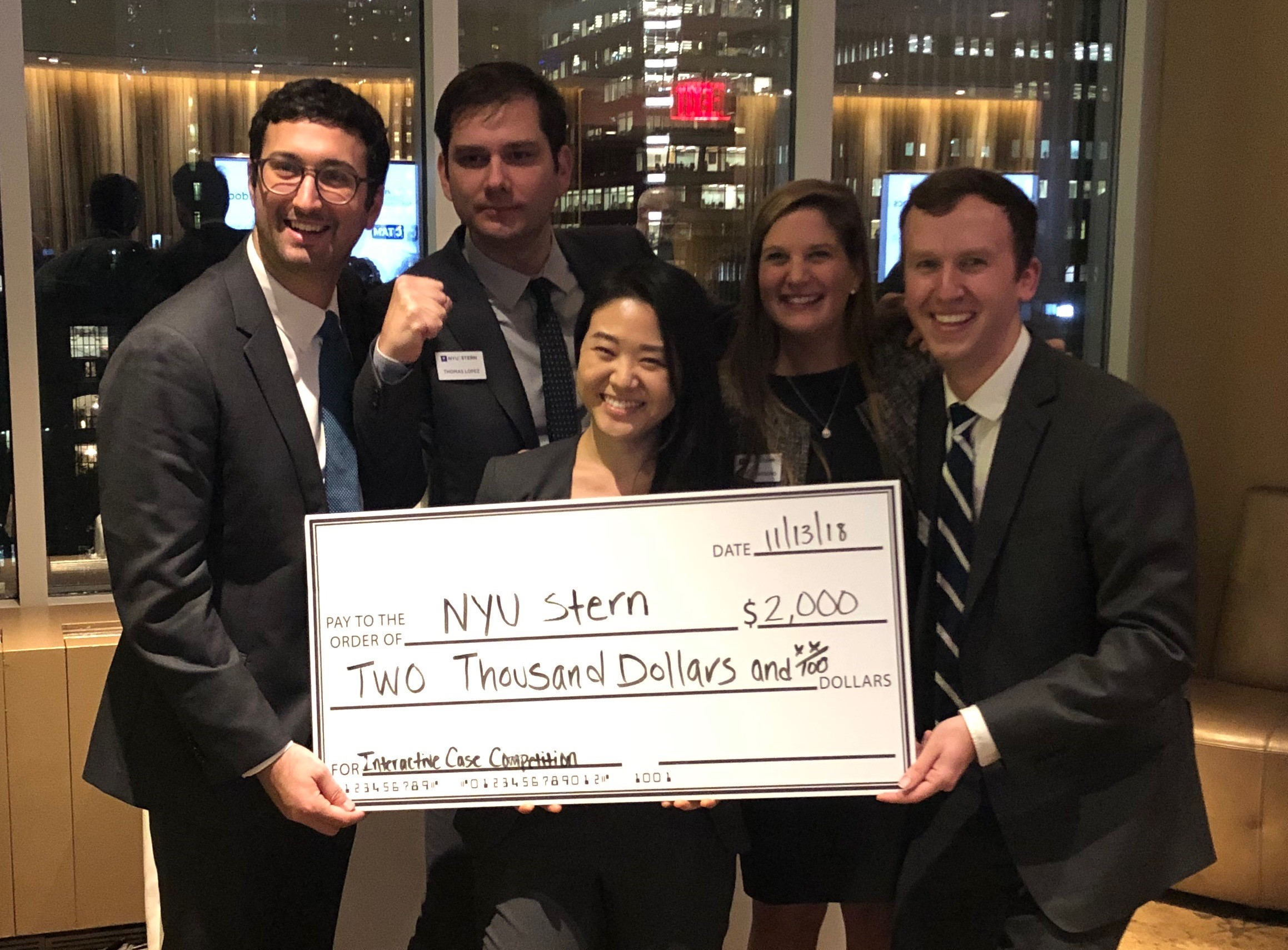 Sternies celebrate taking first place at the Interactive Case Competition