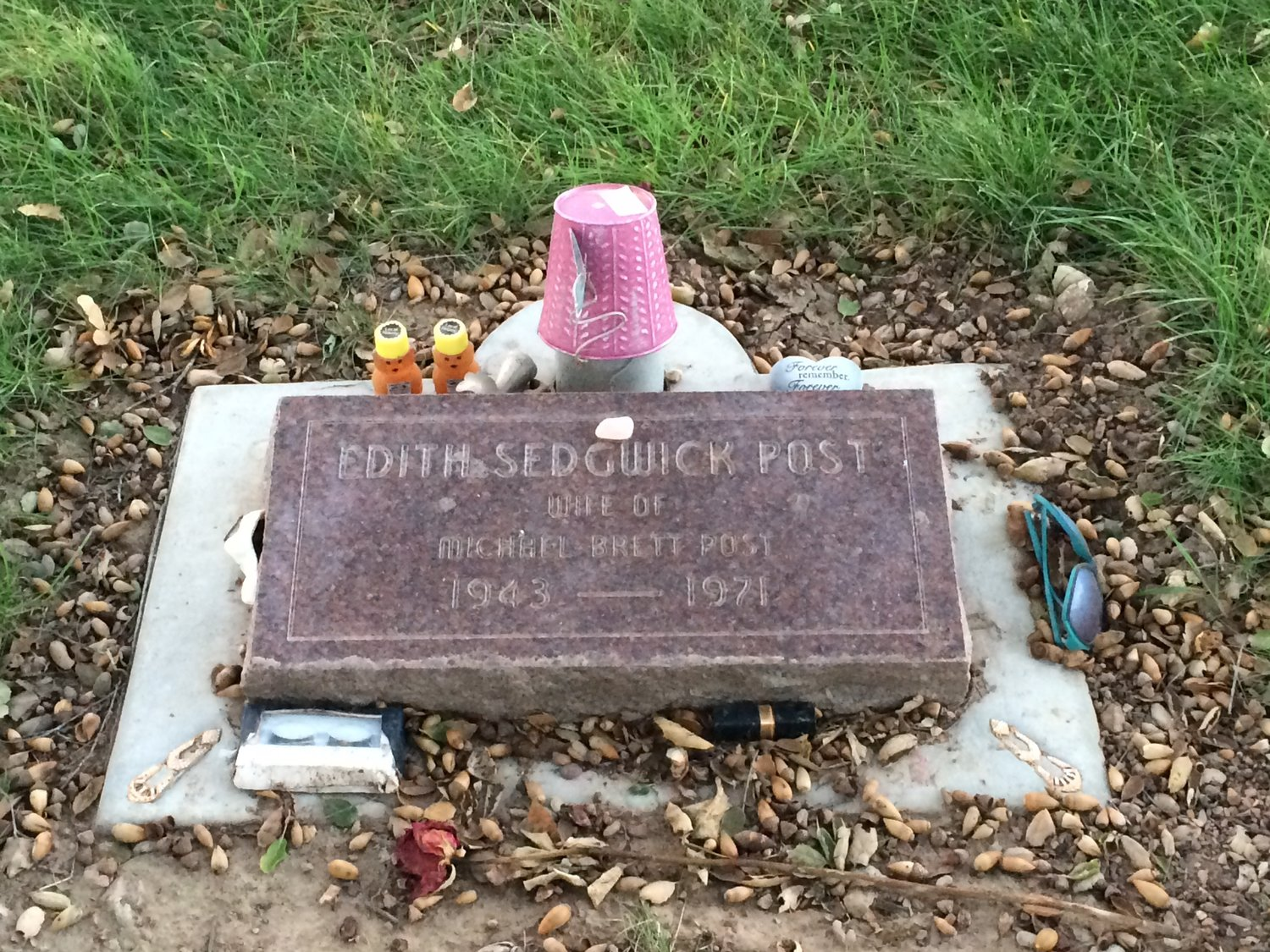 Edie Sedgwick's grave at the Oak Hill Cemetary. (She took the surname of her husband Michael Post).