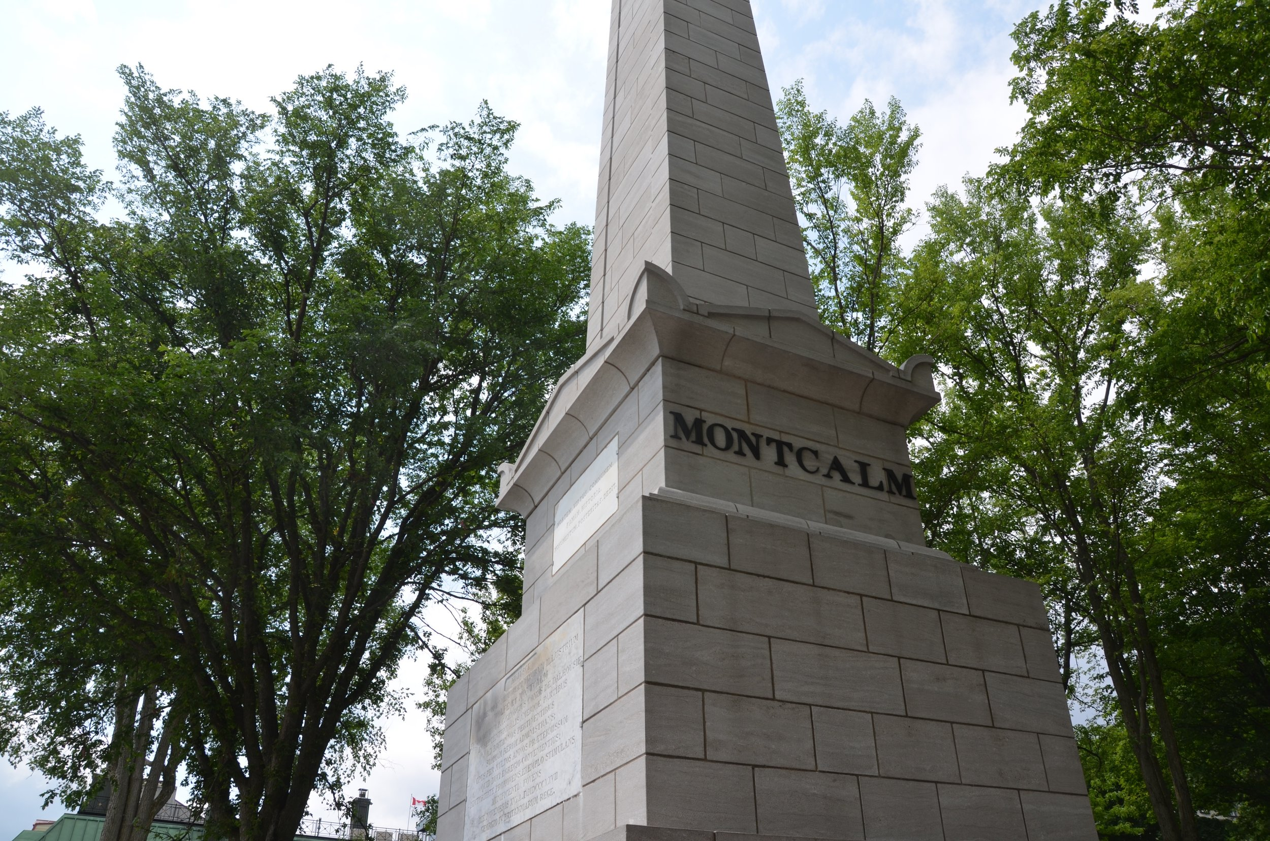 This side of the monument shows Montcalm's name. Wolfe is on the opposite side.The inscription on the front is written in Latin.