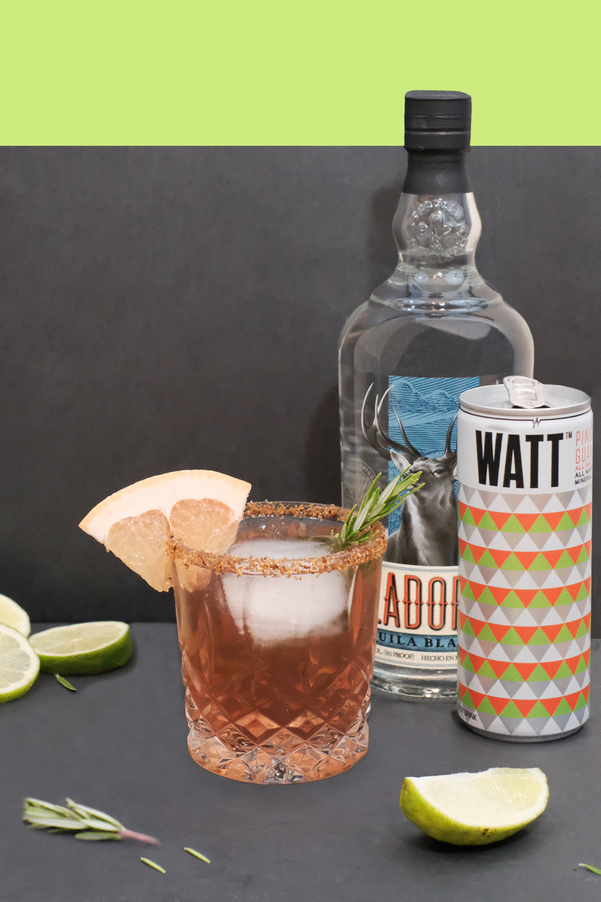 WATT PALOMA - INGREDIENTS1.5oz Your Favorite Tequila1oz Grapefruit juice WATT Pineberry Guava GLASSHighballHOW TO MAKE THE WATT PALOMAPour the tequila over ice and fill the glass to the brim with WATT Pineberry Guava. Finish with a splash of grapefruit juice. Pinkies out.