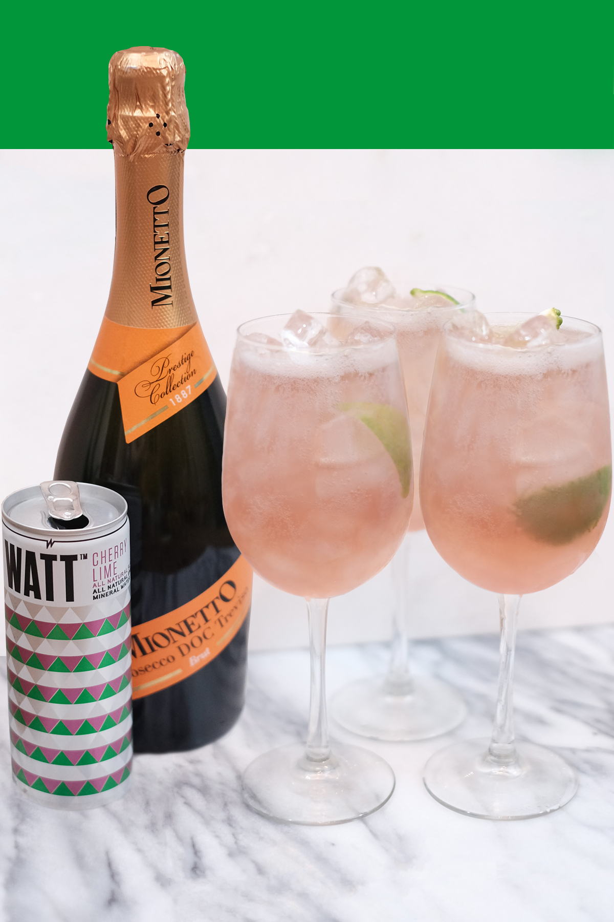 WATT NATURAL SPRITZER - INGREDIENTS3oz WATT Cherry Lime 2oz Prosecco or White WineGLASSChampagne or Wine Glass HOW TO MAKE THE WATT NATURAL SPRITZERMix your Prosecco or White Wine with WATT Cherry Lime and voilá, magic.
