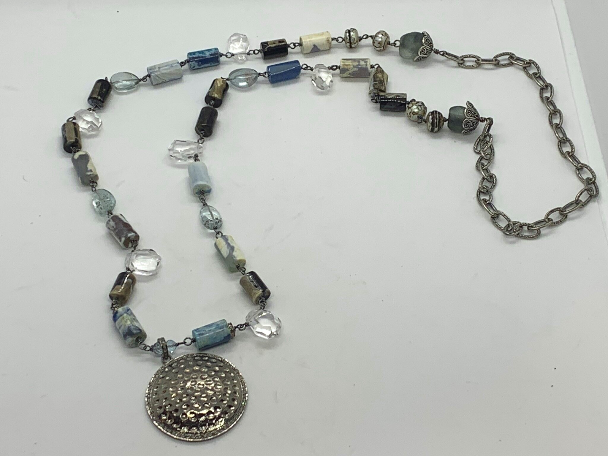 Handmade Agate, aquamarine chain necklace with hammered sterling silver and diamond pendant. $450