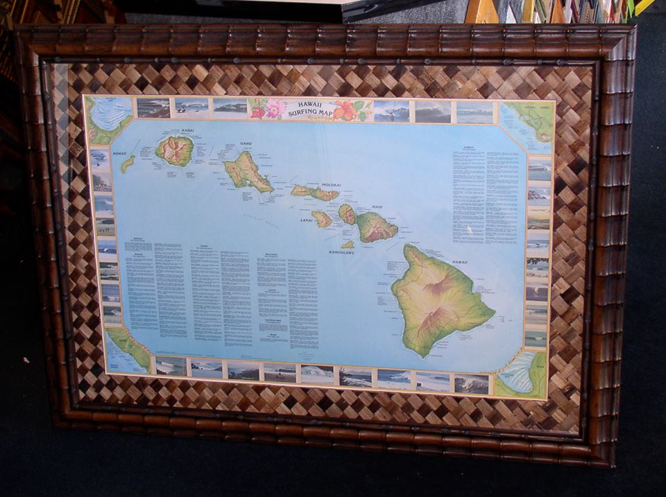 Map of Hawaiian Islands, Tropical Framing
