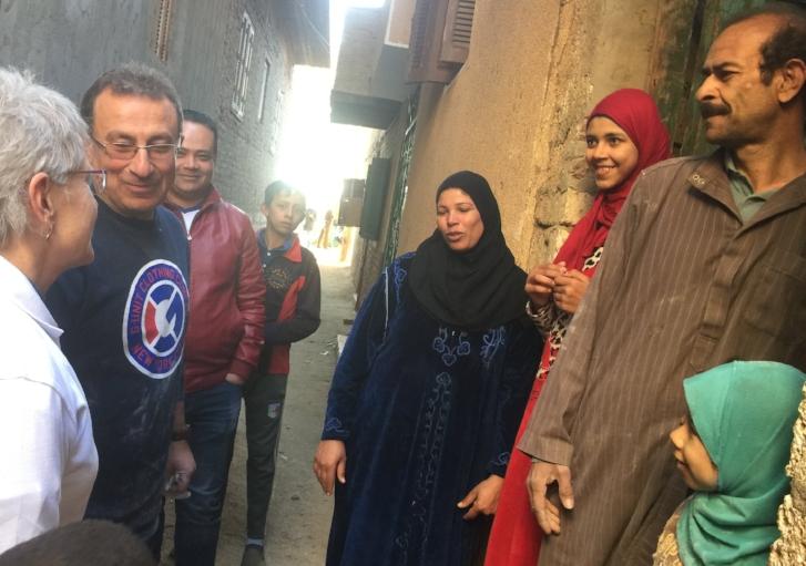 Dr. Emad and the TOLI team visiting loan recipients in El Kom El Akhdar.