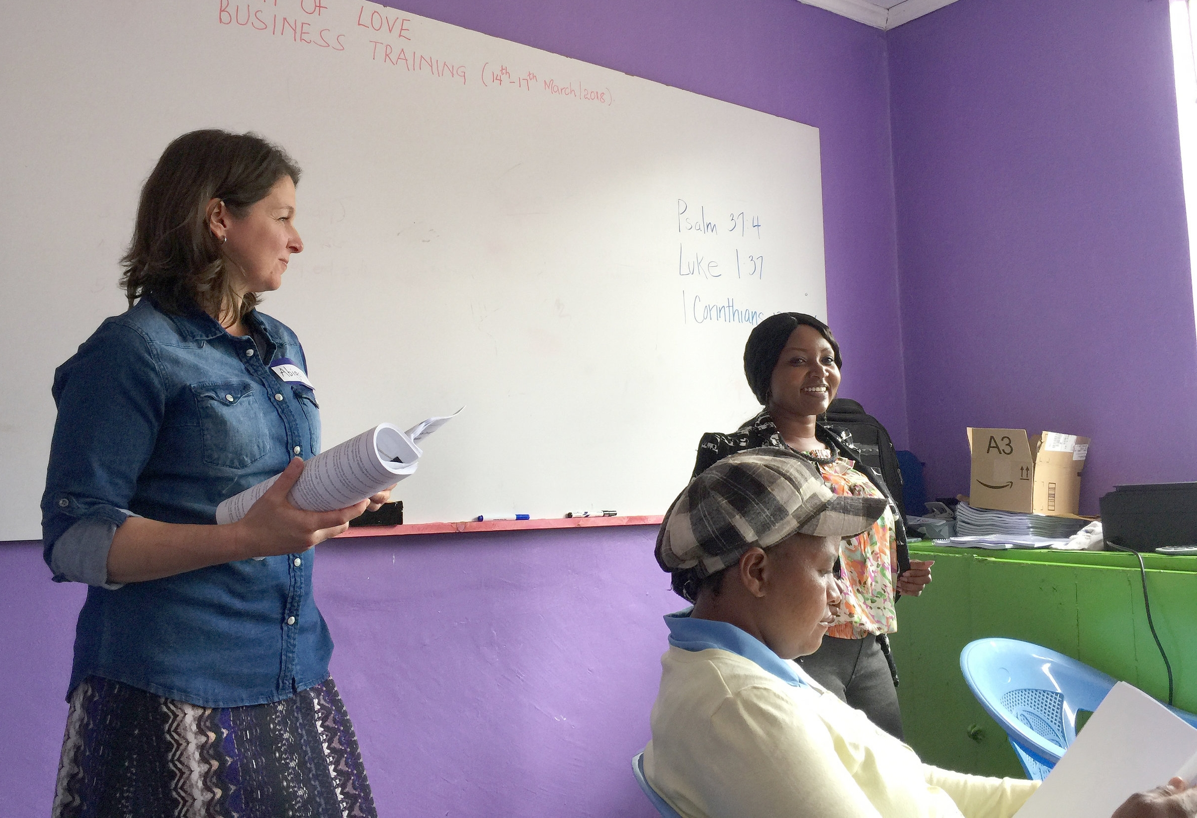 Teaching a small business lesson with Lucy (right)last month.