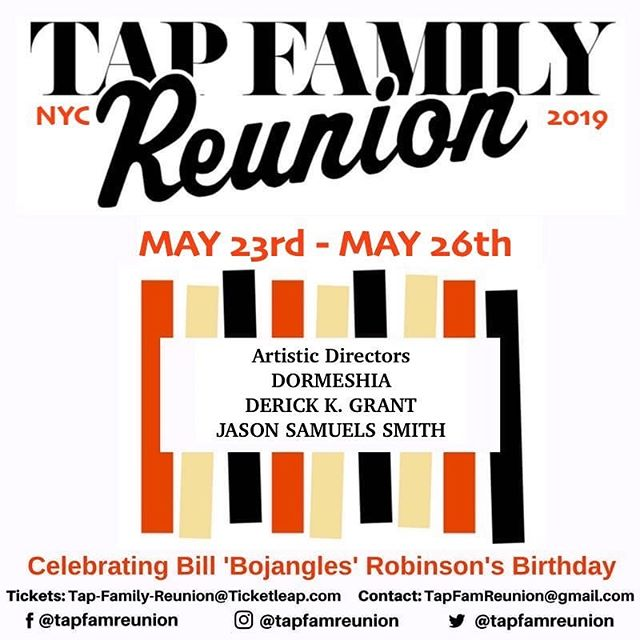 "TOMORROW! I am so grateful to be a part of this wonderful celebration. Join us Friday, Saturday, and Sunday for all things tap, as we honor the great Bill ""Bojangles"" Robinson on his birthday, May 25th, for National Tap Dance Day. Visit the link in my bio for all event details :) #tapdance #tapfamilyreunion2019 #dormeshuffle"