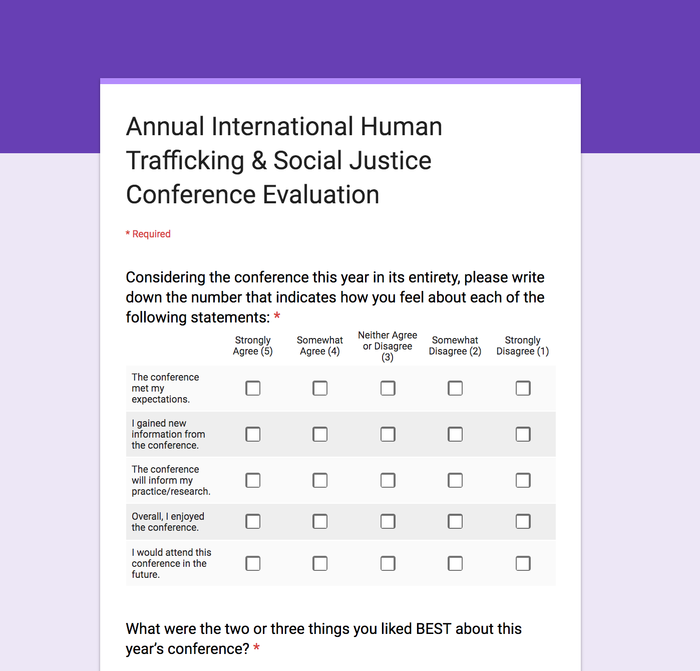 Overall Evaluation - Anonymous Online Survey -