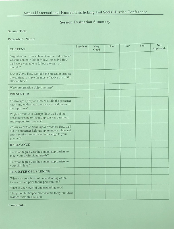 Session Evaluation - Hard Copy -