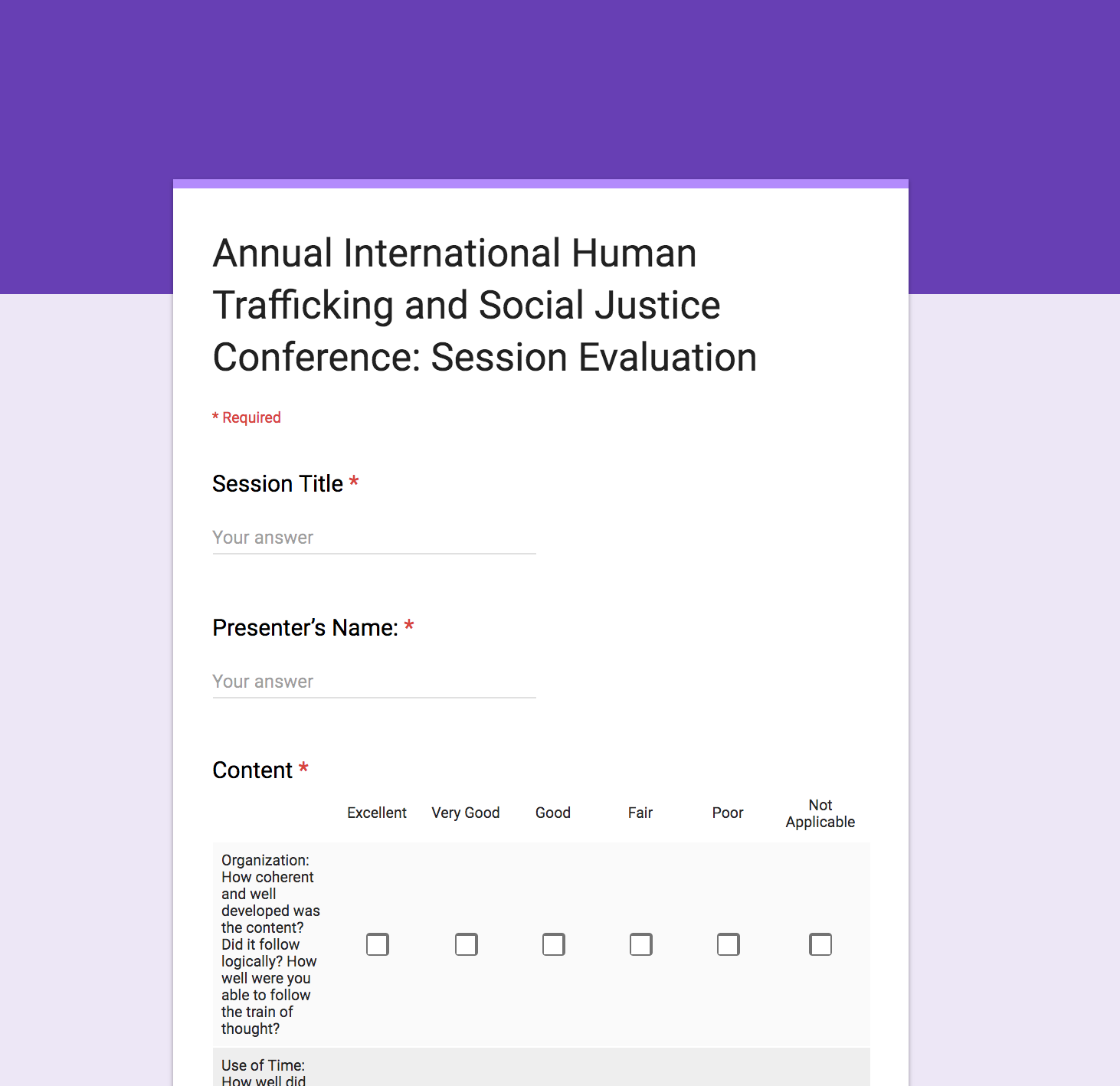 Session Evaluation - Anonymous Online Survey -