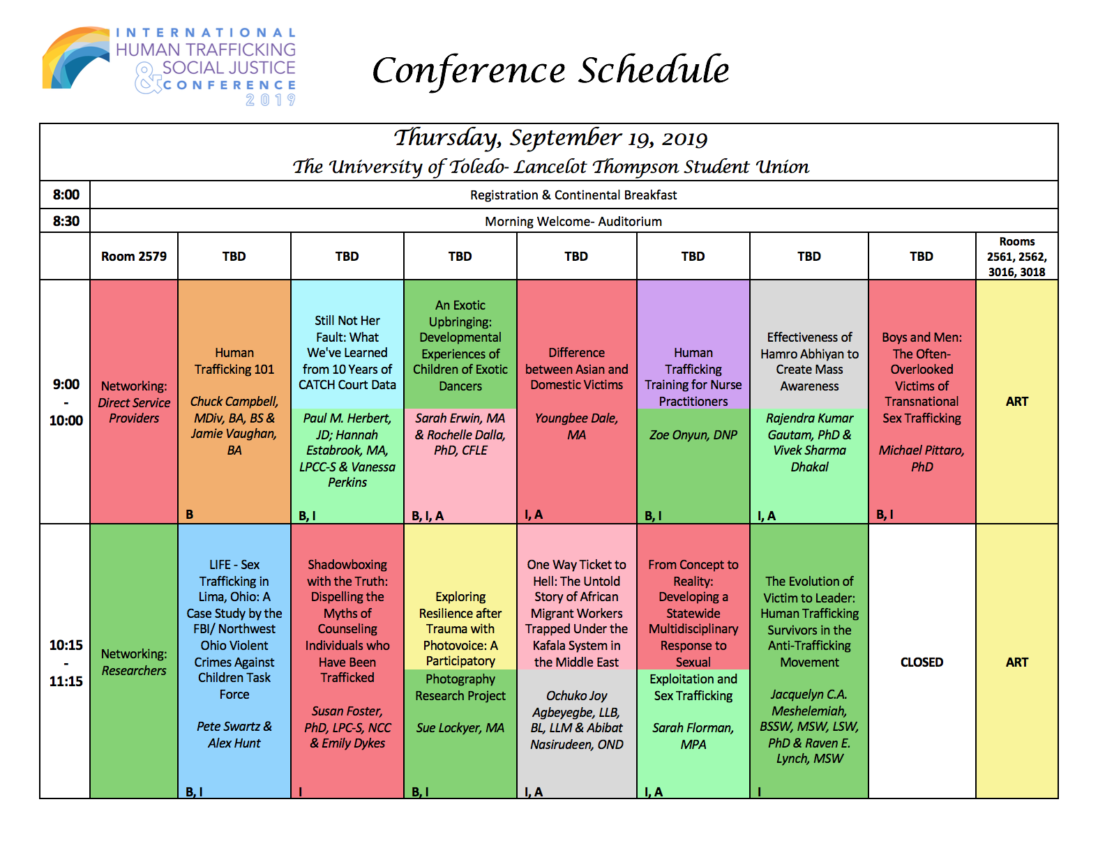 2019 Conference Schedule -