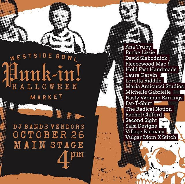 Here's our official vendor list for Punk-in Halloween Market at @westsidebowl! Come out & buy some really cool things by all of these amazing vendors & enjoy some tunes by the DJ & the bands 💀