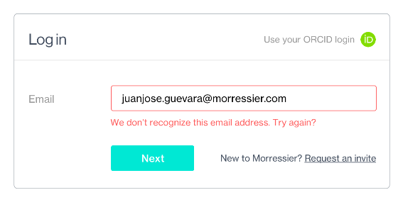 "You must be new! If the user clicked ""Log in"" and entered their email but didn't have a Morressier account, this error message appeared along with the ""New to Morressier?"" string."