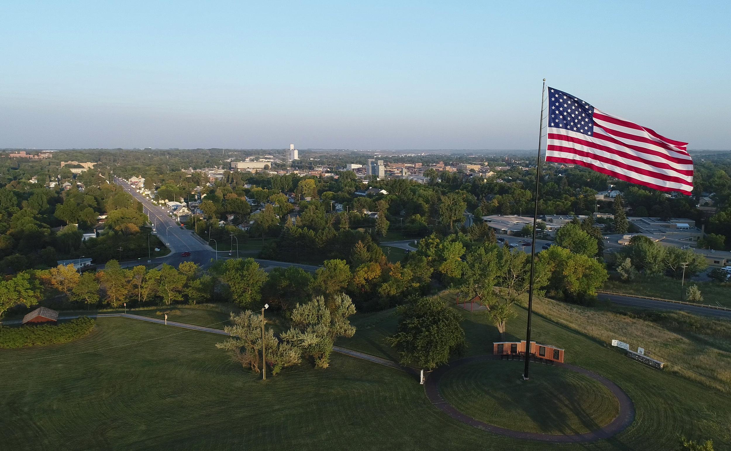 The American Flag flies in the wind over Fort Seward in Jamestown, North Dakota.