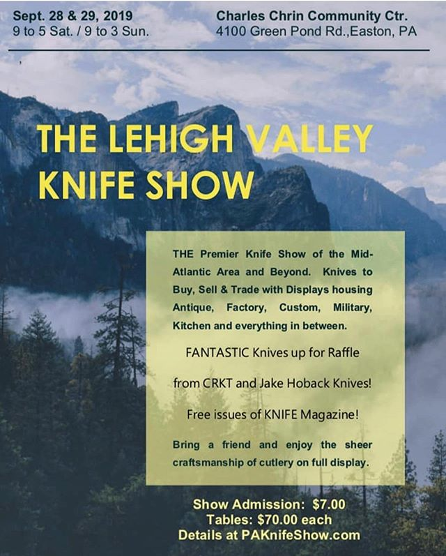 The Lehigh Valley Knife show is a biannual ritual that we never miss! Lots of great makers and collectors make the trip to this more intimate event. Come hang out eat some great beef jerky, enter killer raffles, and of course check out all the great knives!