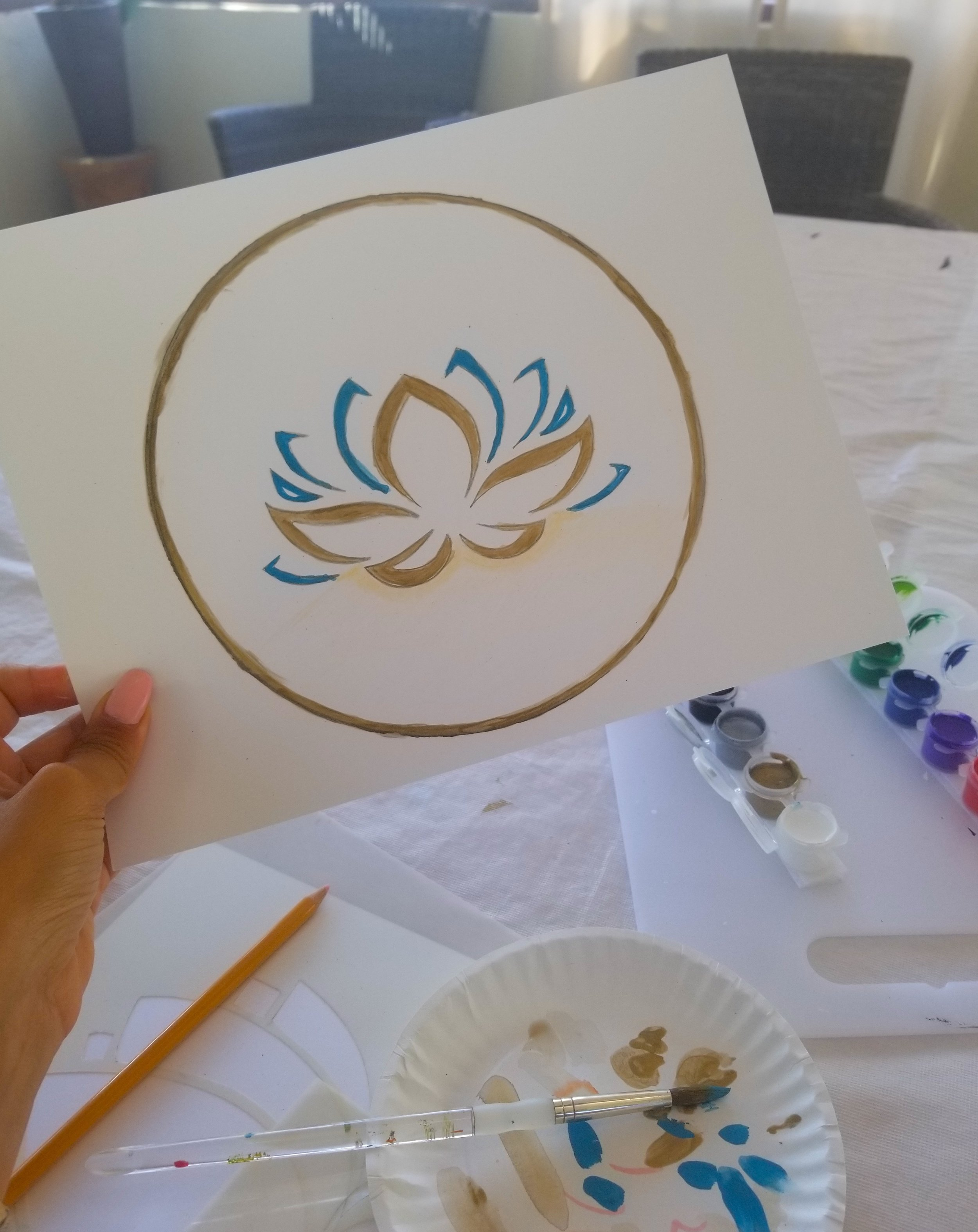 My lotus stencil. The art teacher noticed I used a lot of turquoise and white in both classes which signifies transformation, balance, harmony and tranquility!