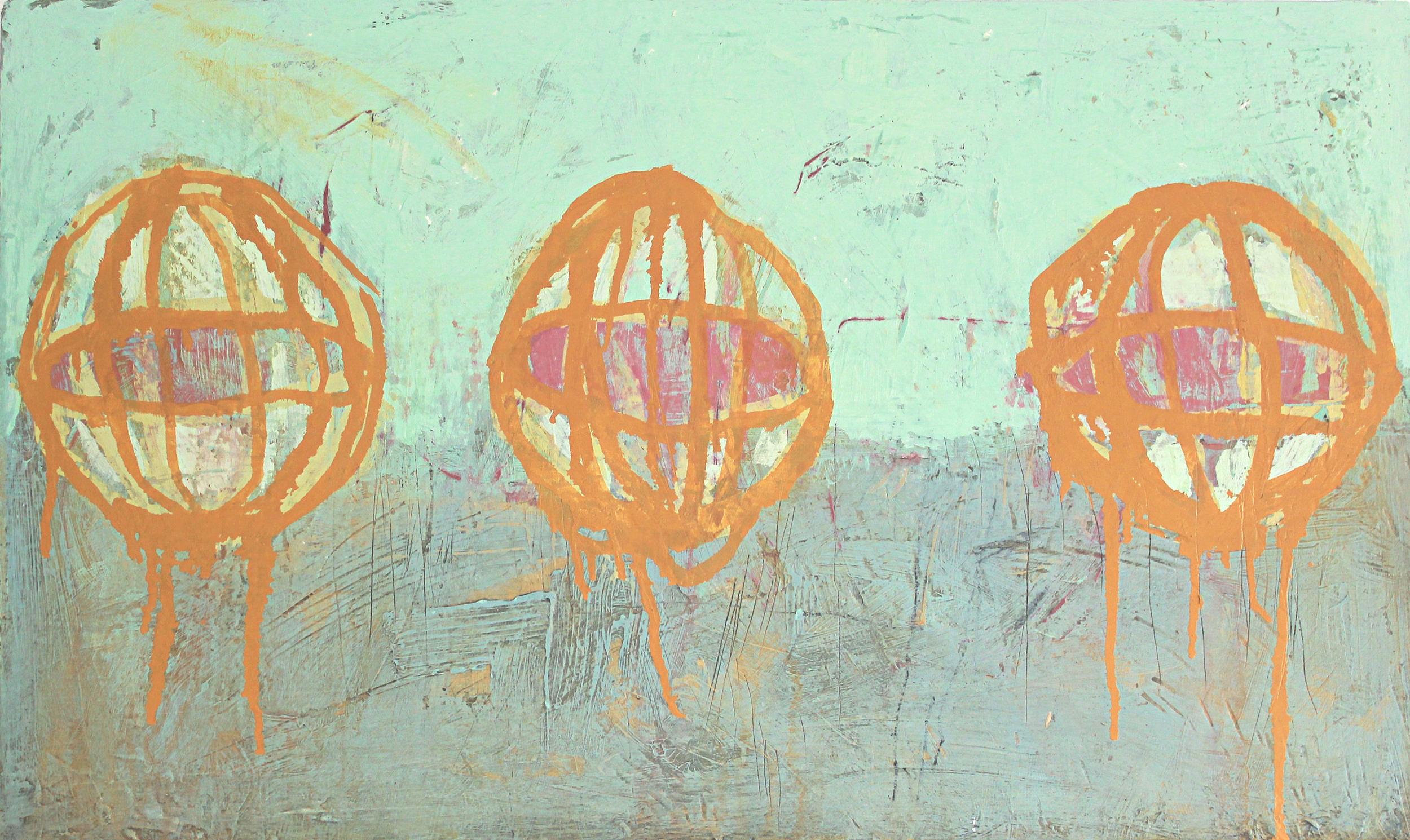 Three Painted Orbs
