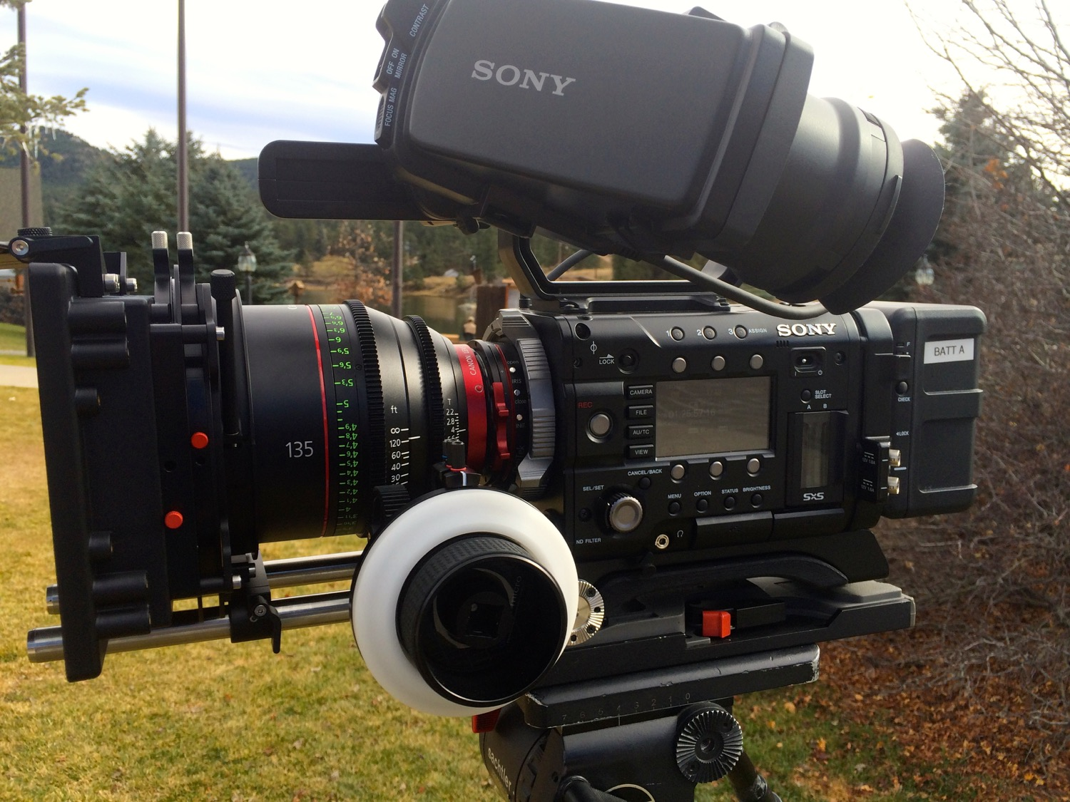 Sony PMW-F55 Camera with Canon Prime Lens