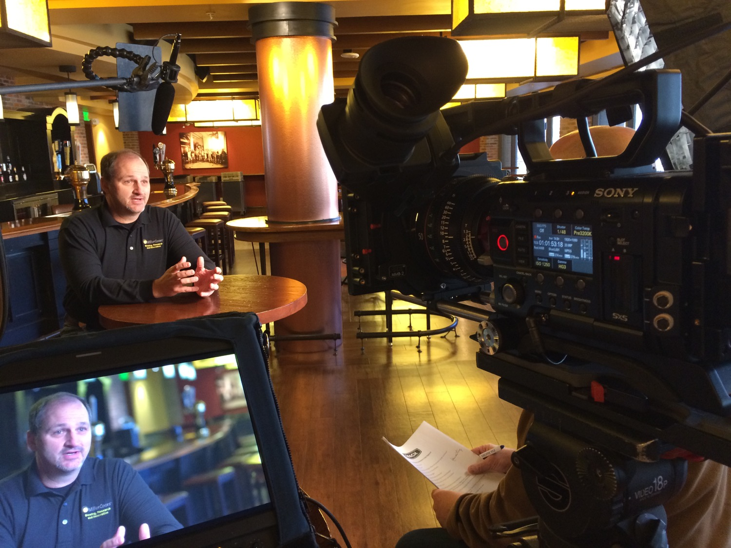 F55 with Canon prime lens on set for MillerCoors production