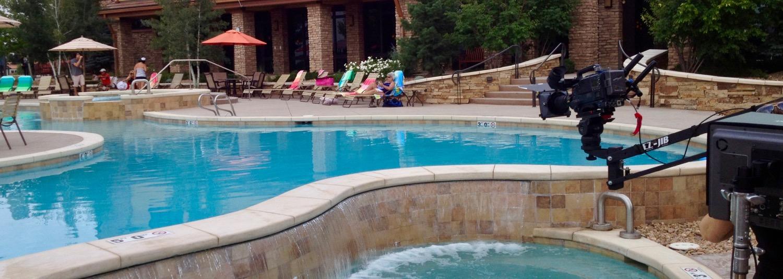 Big Pictures EZ Jib flies over pool