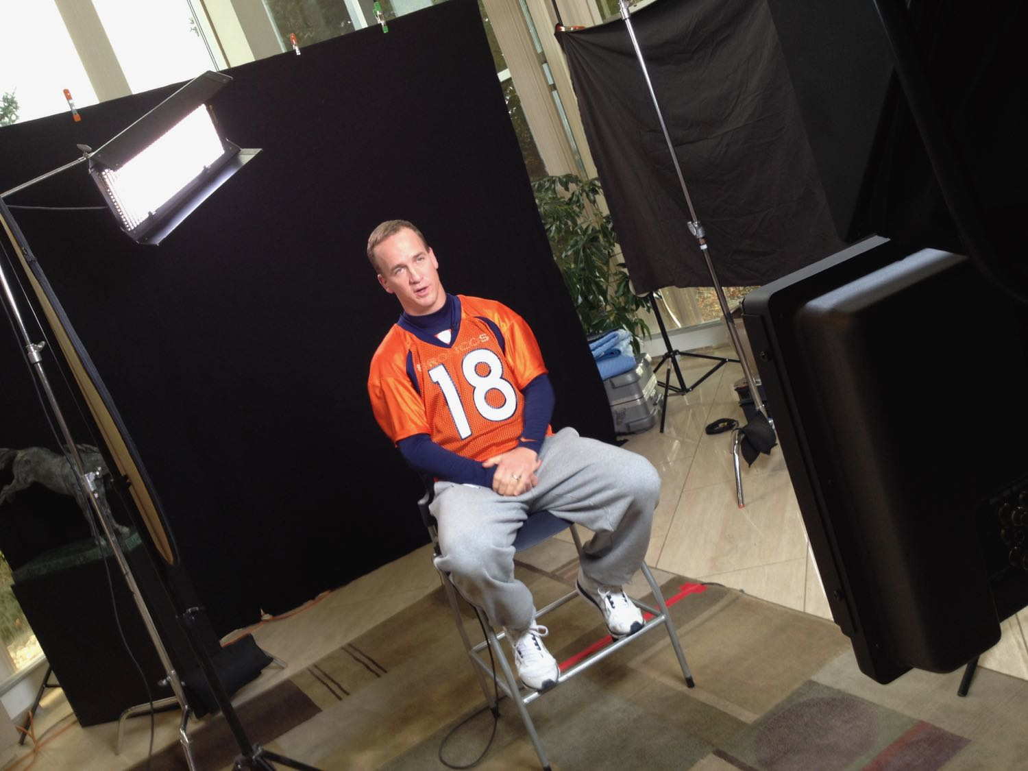Peyton Manning is interviewed by Will Ferrell playing Ron Burgundy