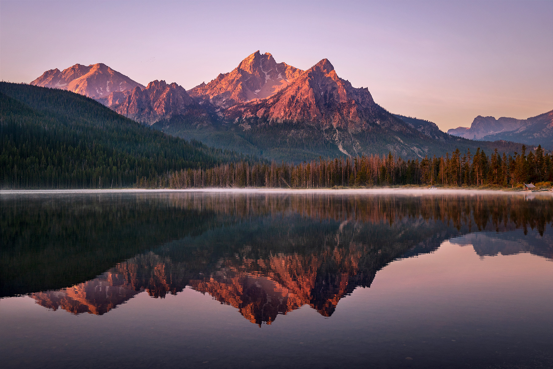 Sunrise on the Sawtooth Range the day before the total solar eclipse at Stanley Lake, Idaho © Autumn Schrock