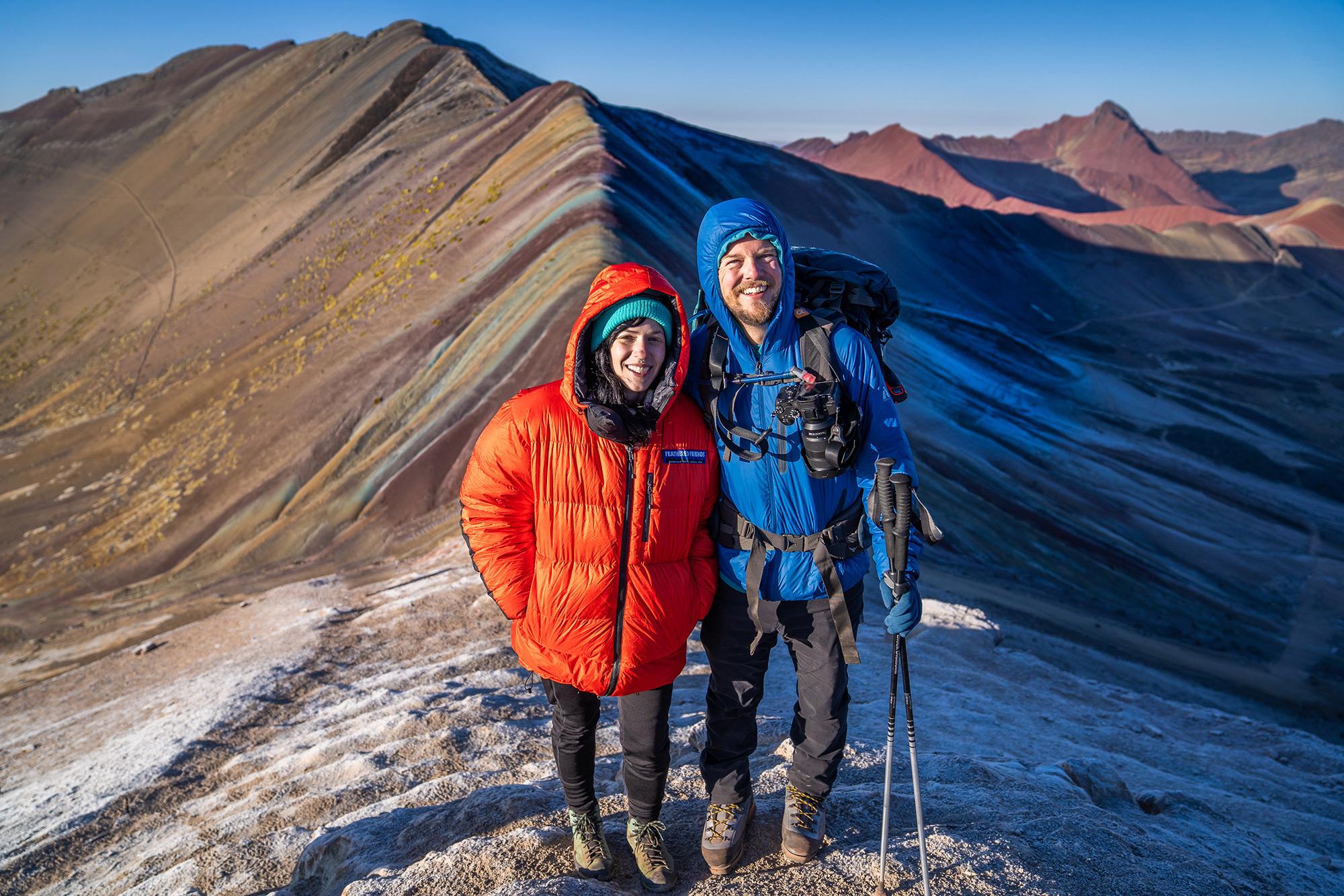 Freezing at the top of Rainbow Mountain ©  Alejandro Silva