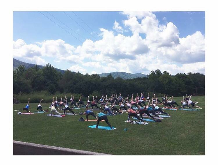 Community Yoga fund raiser on the Meadow at Boid Rock Cidery, Nellysford, VA (2017).  Proceeds were used to provide six weeks of yoga classes to the Metro Richmond Boys & Girls Club.