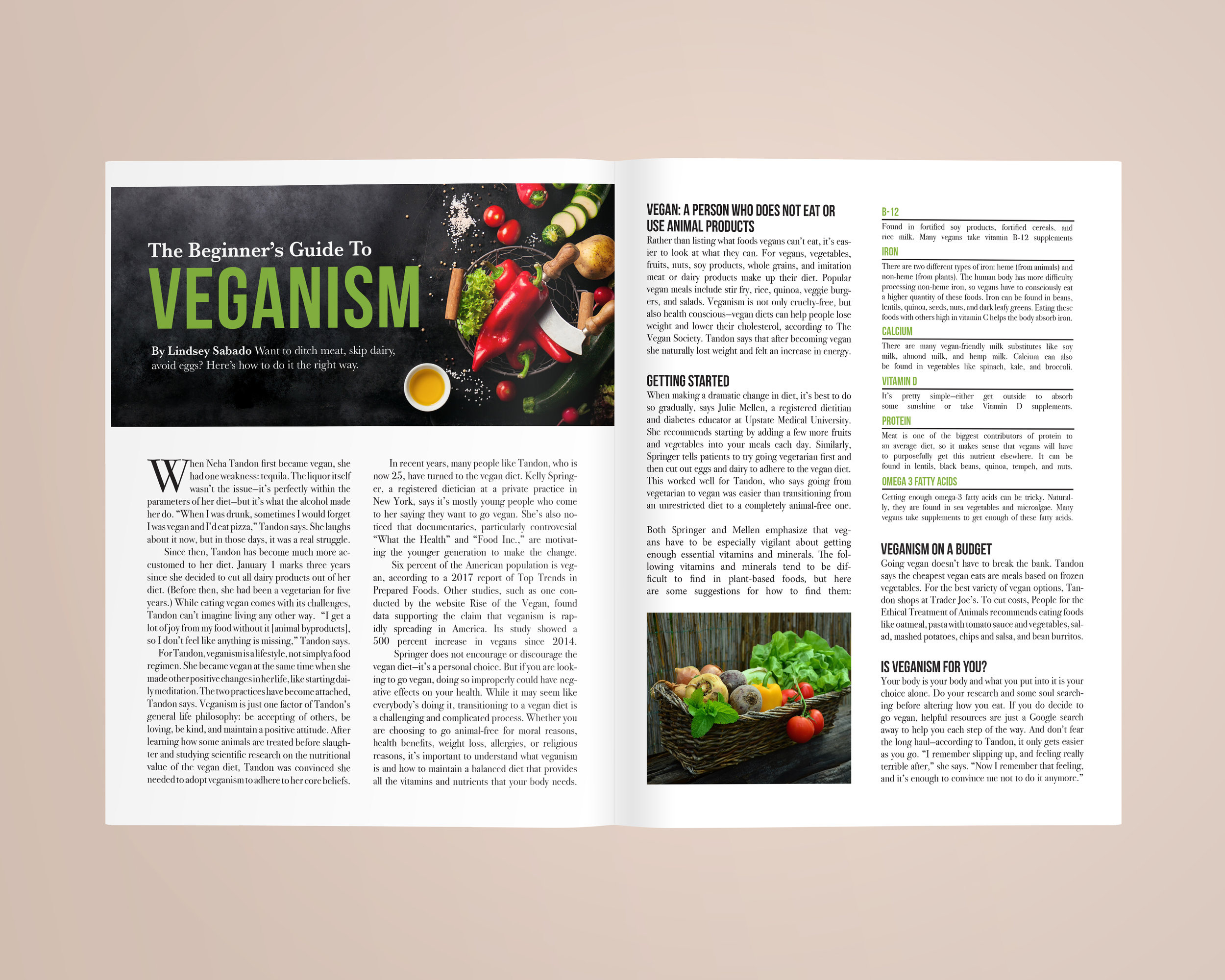 The beginner's guide to veganism  | Fall 2017 | Role: design, photo selection