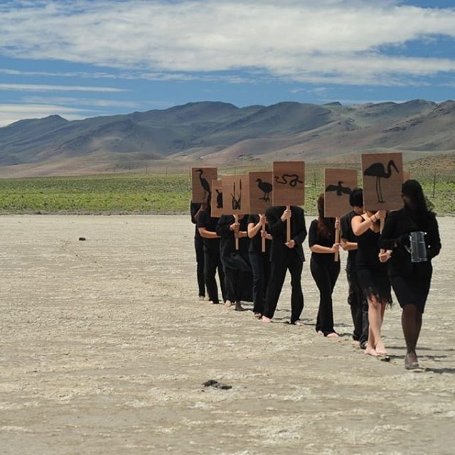 "Happy Earth Day 🍃  Come check out the ""What Climate?!"" exhibit. We have extended our hours until 8pm in honor of #EarthWeek  Still from ""Funeral Procession for a Dead Lake"" by Artist Anne-Katrin Spiess. Currently on view at the gallery  A performance piece that takes the form of a ceremony to pay tribute to Winnemucca Lake and the animal and plant species that are no longer able to inhabit it. Winnemucca Lake was located in the Northwest of Nevada, and was fed by the overflow of Pyramid Lake. This area was a rich and vibrant habitat for wildlife, fish, birds and various marsh and meadow species. In 1903 as part of the Newlands Reclamation Act, the Derby Dam was built on the Truckee River redirecting water to support agriculture in the Fallon and Fernley areas. This caused the water level of Pyramid Lake to decrease considerably, and eventually no water would flow to Winnemucca Lake.  #annekatrinspiess #katrinspiess #EarthDay #conceptualart #performance #videoart #installation #climatechange #whatclimate?! #lahappening #losangeles #gallery"