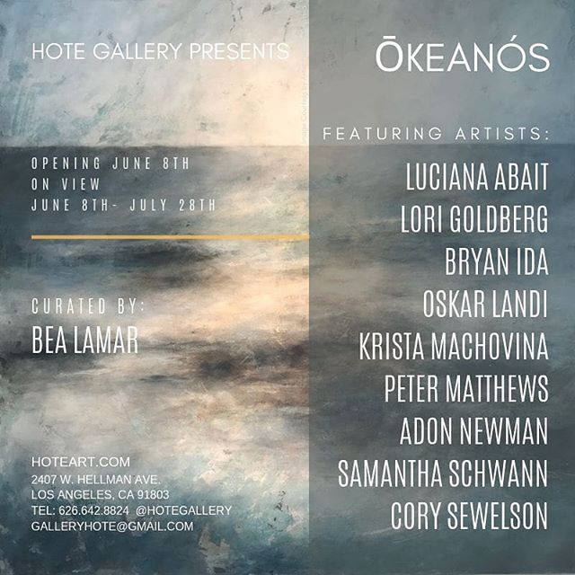 "Humans of the Earth Gallery is proud to present a group exhibition featuring paintings, photography, sculpture, video art and mixed media artworks.  The ""Ōkeanós"" exhibit will run from June 8th, 2019 – July 28th, 2018 at the Gallery with an opening reception on Saturday June 8th in honor of World's Ocean Day.  Nine artists will be featured in the exhibit: Luciana Abait, Lori Goldberg, Bryan Ida, Oskar Landi, Krista Machovina, Peter Matthews, Adon Newman, Samantha Schwann, and Cory Sewelson.  Curated by Bea Lamar, the exhibit addresses pollution, and the global extinction facing our environment, focusing on our oceans and bodies of water. The artworks shift from celebrations of our oceans and its inhabitants, to studies of threats currently plaguing our oceans and the current issues facing the health of our oceans. ""Ōkeanós"" will be on view through July 28th. The artist reception will take place on June 8th from 5-7 pm. Gallery hours during the exhibit are Wednesday – Saturday 12–6 pm, also by appointment."