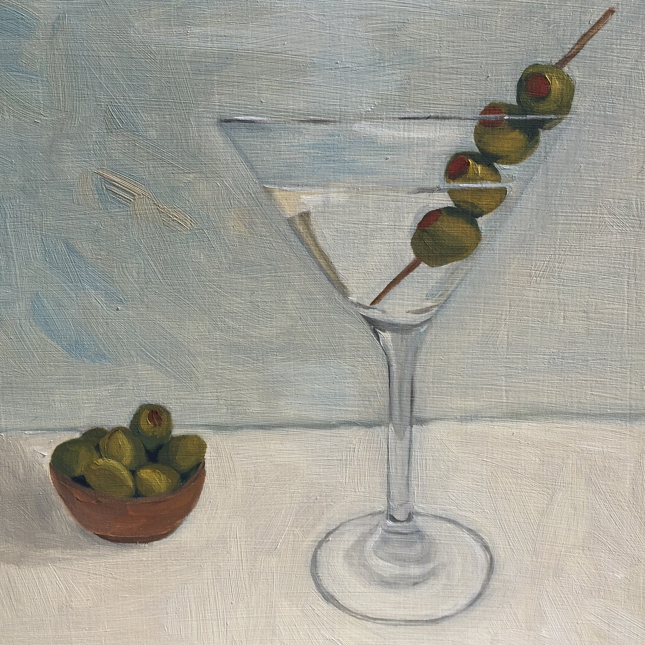 "Martini, oil on panel, 8""x8"", SOLD"