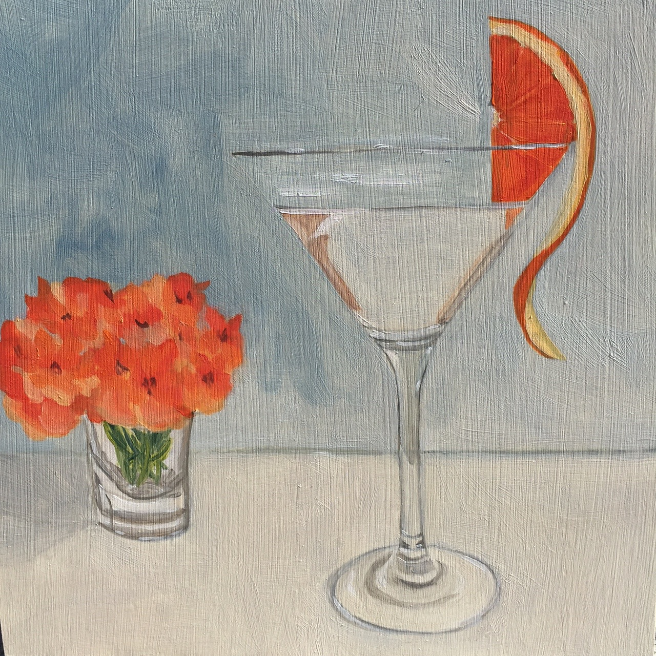 "Orange Martini, oil on panel, 8""x8"""
