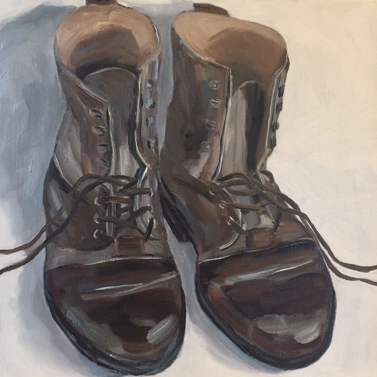 "Working Boots, oil on panel, 8""x8"""