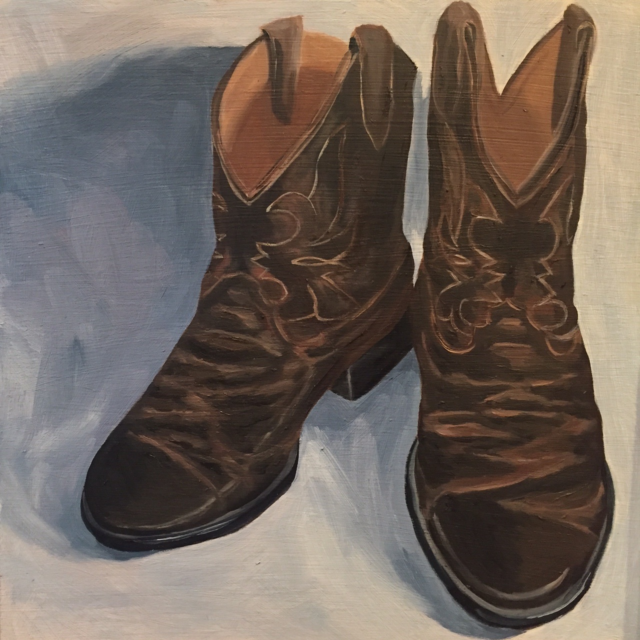 "Cowboy Boots, oil on panel, 8""x8"" SOLD"