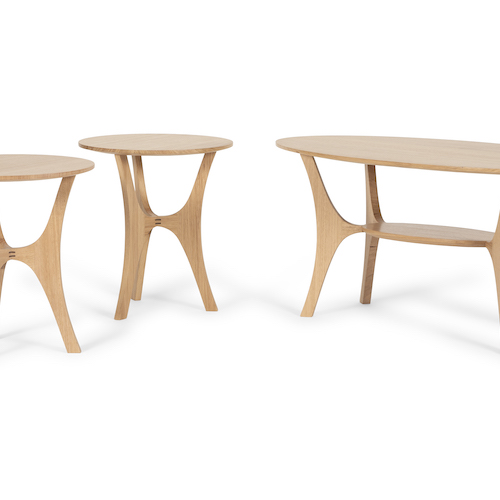 Big Brother, Little Sisters - Matching coffee table and side tables made from recycled hardwoods.