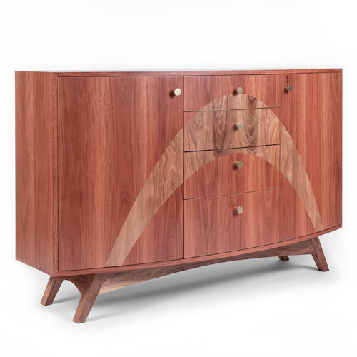 Curved Sideboard - Sideboard from solid and veneered Red Ironbark and Blackwood with curved front and sweeping inlay.