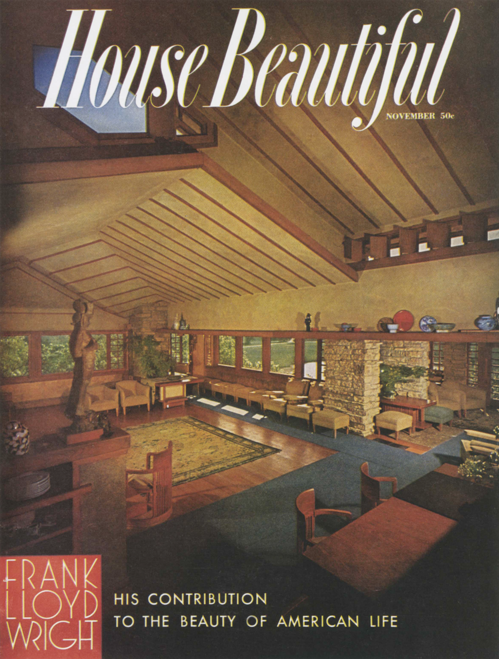 Frank Lloyd Wright featured in  House Beautiful , November 1955.  [No known restrictions. Courtesy of Monica Penick.]