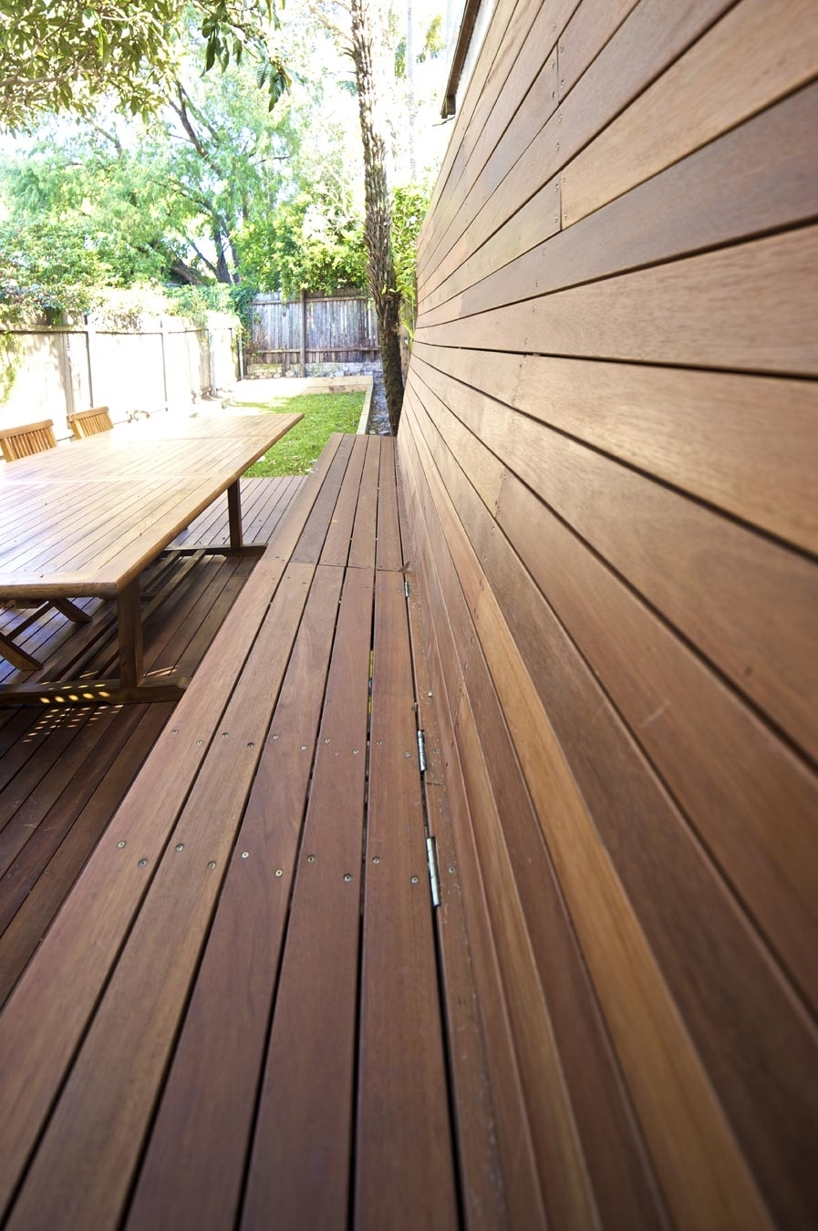 Close up of a Custom built in seat, on a Blackbutt timber deck
