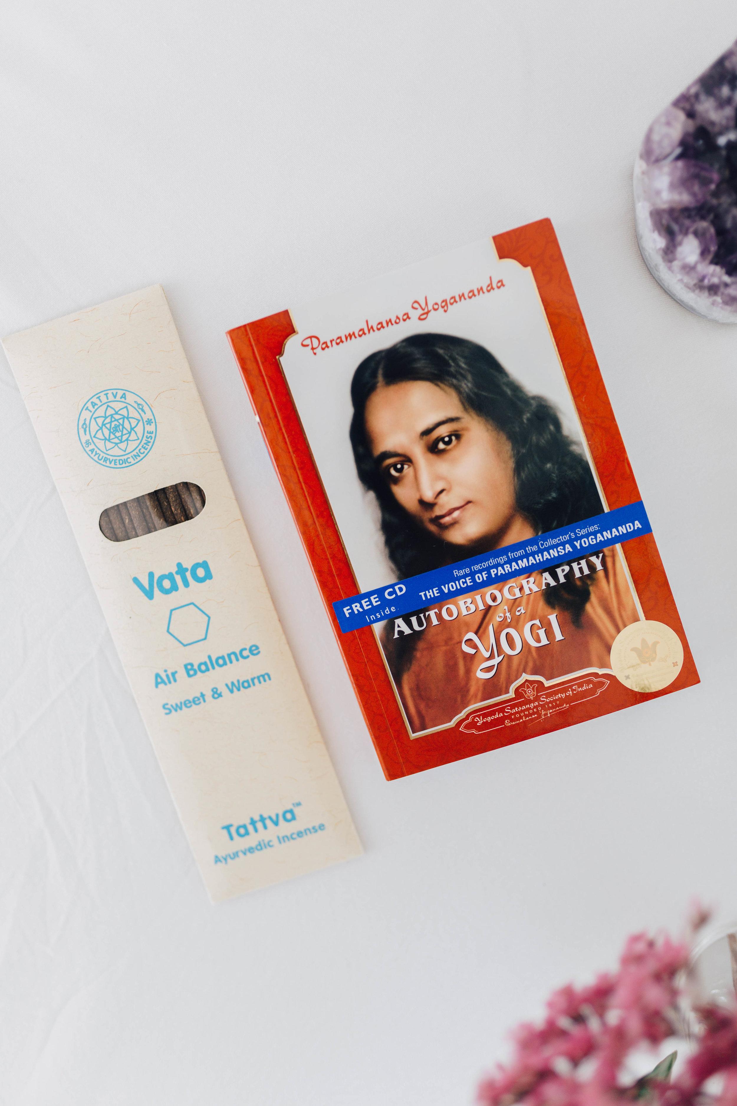 --- $25 gift ---- + ''Autobiography of a Yogi' book + Vata incense