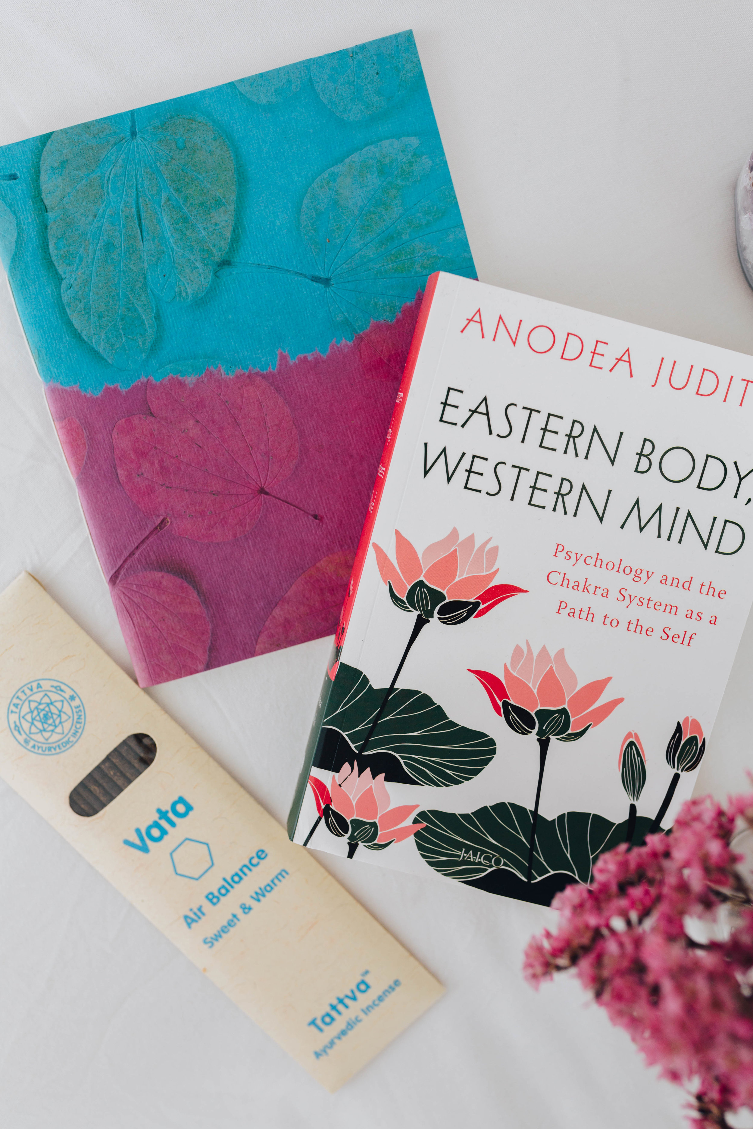 --- $50 gift ---- + Handmade paper notebook from Auroville, India + Vata balance incense + 'Easter Body Western Mind' by Anodea Judith book